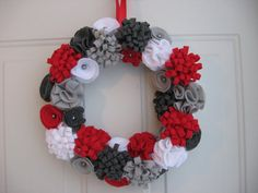 Holiday Wreath, Silver, Red and White Felt Flower Wreath, Christmas Wreath 12 inches, Door Decoration on Etsy, $45.00