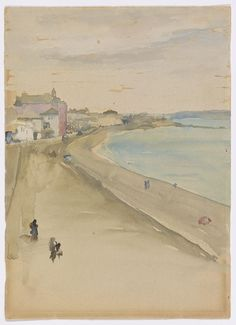 Penzance, Cornwall - James McNeill Whistler, watercolor on paper - kâğıt üzerine suluboya - Collection/Koleksiyon: Freer Gallery of Art Art Gallery Uk, Freer Gallery, Beach Watercolor, Watercolor Landscape, Watercolour Painting, James Abbott Mcneill Whistler, First Art, American Artists, Art World