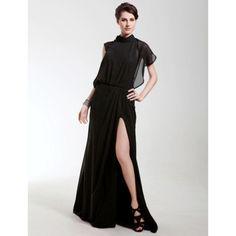 Chiffon Sheath/ Column High Neck Sweep/ Brush Train Evening Dress inspired by Angelina Jolie – US$ 179.99