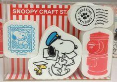 Snoopy Post Craft Stamp Set Rubber Stamp Set  1 set (4 stamps)  Package size W6.5×D9×H2.1cm (Approx.2.55x3.54x0.82)
