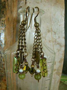 Going Green Long Boho Dangle Earrings Jade Pearl Wire by Sewartzee