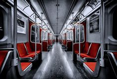 Title - A Subway Car in Toronto Photographer name - Roland Shainidze Description of place Downsview subway station, last stop to the northbound, Toronto, Ontario, Canada. Toronto Photography, Hdr Photography, Popular Photography, Wedding Photography, Color Splash, Color Pop, Color Tones, Toronto Subway, Rouge
