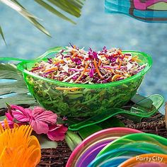 Colorful coleslaw is the perfect side dish to our beef kabobs. Click through for our Colorful Summer Coleslaw recipe! Serve this dish is a Neon Green Oval Serving Bowl for even more color!