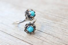 Sterling Silver RING / Turquoise Blossom Ring by SouthwestVintage, $32.50