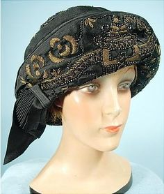 AntiqueDress.com - Museum items for Sale c. 1921 DE MARINIS, Paris - Said to be Fanny Brice's Hat Gold Metallic and Beads on Silk Cloche #6610
