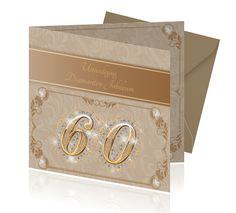 Een mooie jubileumkaart voor jullie trouwdag 60 jaar getrouwd. Afgewerkt met diamantjes en bijvoorbeeld goed te bestellen met een kraft envelop.