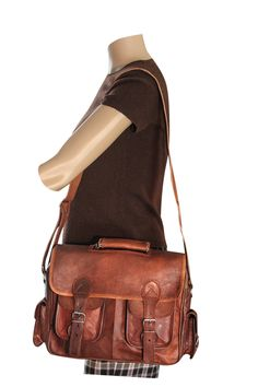 B-200 SHARO Genuine Leather Bags Brown Satchel Available at ebags, shoebuy, and Overstock.com