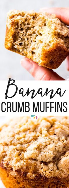 If you've ever been disappointed by mediocre muffins, these Banana Crumb Muffins are going to knock your socks off! Super easy to make with mostly pantry staples like flour, sugar, oil, eggs and Greek yogurt and optionally healthy whole wheat flour, they bake up into amazing crumbly domes nobody can resist. | #recipes #baking #muffins #brunch #bananabread #lunchbox #kidfriendly