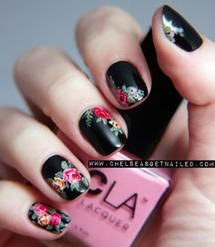 Take a black manicure from gothic to girlie with just a few bright flowers. Chelsea King was inspired by her favorite floral-patterned Doc Marten boots, which makes this mani all the more edgy. Get the tutorial from Chelsea Queen » - GoodHousekeeping.com