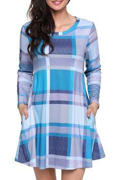 Mode Blue Gray Plaid Long Sleeve Mini Dress ChicLike.com