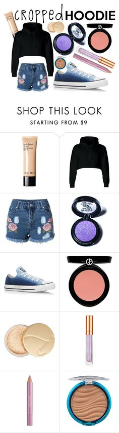 """""""hoodie that is cropped"""" by peppermint-candy ❤ liked on Polyvore featuring Bobbi Brown Cosmetics, Medusa's Makeup, Converse, Armani Beauty, Jane Iredale, Elizabeth Arden, Estée Lauder and Physicians Formula"""