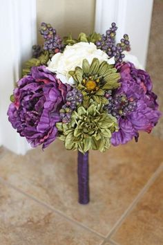 right colours- too many fluffy petals =/  plum and Olive Green Wedding Bouquet