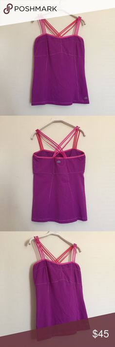 ALO Yoga purple pink crisscross strappy tank Large Excellent condition. Shelf bra with strappy crisscross back. Bundle to save 25%! ALO Yoga Tops