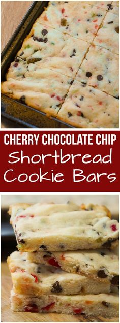 Cherry chocolate chip shortbread cookie bars are any easy Christmas dessert recipe. These shortbread cookies are loaded with cherries and chocolate chips.