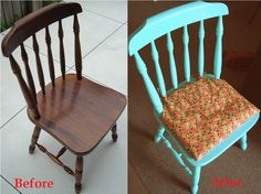 DIY painted chair and seat cover