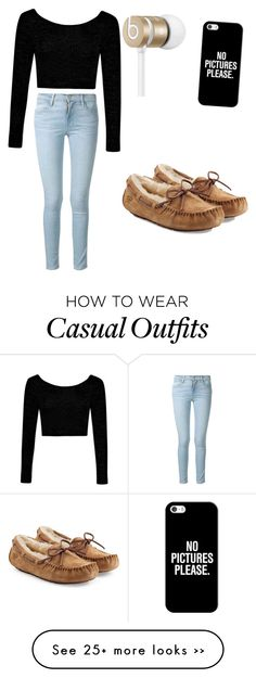 """""""Casual ootd."""" by emmy18-2003 on Polyvore featuring Frame Denim, Boohoo, UGG Australia, Casetify and Beats by Dr. Dre"""