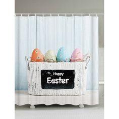 Easter Decoration Waterproof Shower Curtain - LIGHT BLUE 180*200CM