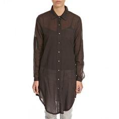 Dark Ink Voile Long Cotton Shirt - Women - Outlet | BrandAlley