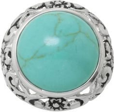 SPARKLE ALLURE Simulated Turquoise Filigree Ring