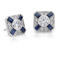 Blue Nile Blue Sapphire and Diamond Deco Stud Earring ($1,795) ❤ liked on Polyvore featuring jewelry and earrings