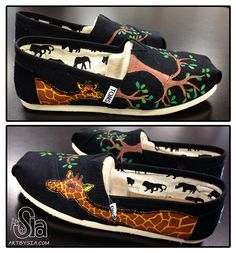 Art by Sia | Giraffe TOMS Shoes | 2012 | Acrylic paint