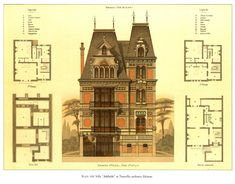 Plans and elevation of the Villa Adelaide, Trouville Vintage Architecture, Classic Architecture, Architecture Drawings, Historical Architecture, Architecture Details, Sustainable Architecture, Landscape Architecture, The Plan, How To Plan