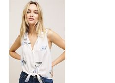 sleeveless tie waist button down shirt - Google Search Camisole Top, Button Down Shirt, Buttons, Tie, Tank Tops, Google Search, Shirts, Women, Fashion