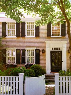 a home with shutters =) surrounded by beautiful plants! Michael Partenio, Photographer love this one Colonial Exterior, Exterior Trim, Garage Door Design, Garage Doors, House Shutters, Classic House, Classic Style, Traditional House, My Dream Home