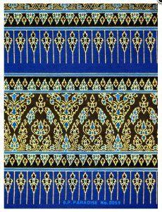 Thai Print Fabric Foliage Pattern Blue: Amazon.co.uk: Kitchen & Home