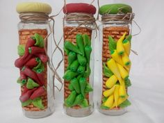 Clay Jar, Polymer Clay Canes, Pasta Flexible, Clay Crafts, Data, Bottle, Glass, Flowers, Murals