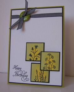 Pocket Silhouettes w sponging in yellow and green and black mat. Ribbon and button