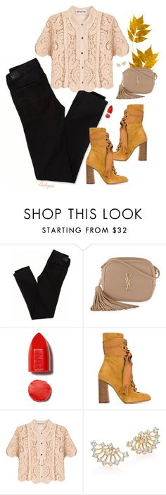 """"""""""" by gabyidc ❤ liked on Polyvore featuring American Eagle Outfitters, Yves Saint Laurent, NARS Cosmetics, Chloé, self-portrait and Adriana Orsini"""