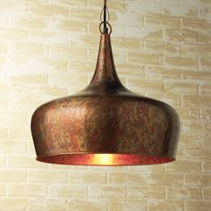 Hammered Copper Cylinder Pendant Light Industrial Look