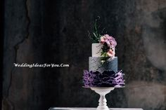 simple wedding cakes with flowers #Wedding #Celebrations #Weddingcakes #Party Cake Design Inspiration, Wedding Cake Inspiration, Daily Inspiration, Wedding Ideas, Purple And Green Wedding, Pink And Purple Flowers, Violet Cakes, Wedding Cakes With Flowers, Flower Cakes