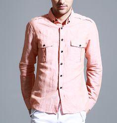 Men's Cotton Linen Collar Shirt