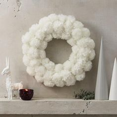 White Furry Snowball Wreath