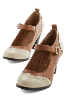 Sweet Style O' Mine Heel. Proudly strut your fashionable stuff in these cognac-and-cream pumps. #tan #modcloth