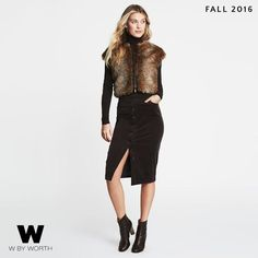 W by Worth faux fur shortie, rootbeer corduroy skirt