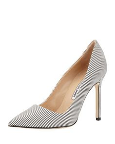 BB Striped Satin Pointed-Toe Pump, Black/White by Manolo Blahnik at Bergdorf Goodman.