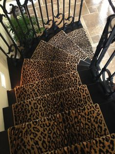 Wild Safari broadloom carpet fabricated into a wide stair runner for a .