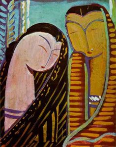 Bengali painter, Zainul Abedin Two Faces Oil on canvas 11 Traditional Radiators, Character Home, Indian Paintings, Modern House Design, Indian Art, Art World, Love Art, Oil On Canvas, Modern Art