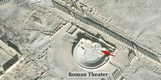 """ISIS Damages Iconic Theater and Monument in Ancient Syrian City. Two of Palmyra's iconic monuments, the Tetrapylon and the Roman theater, have experienced """"significant damage,"""" according to reports. Roman Theatre, Palmyra, Monuments, Conservation, Theater, City, Theatres, Cities, Teatro"""