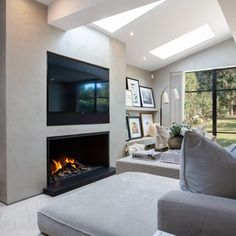 Most up-to-date Snap Shots gas Fireplace Remodel Thoughts Bespoke Gas Fireplace Tv Above Fireplace, Home Fireplace, Fireplace Remodel, Modern Fireplace, Living Room With Fireplace, Fireplace Ideas, Fireplaces With Tv Above, Open Plan Kitchen Living Room, Home Living Room
