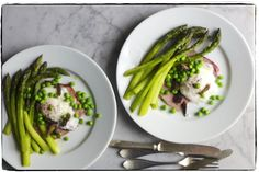baked locally smoked ham, New Jersey asparagus, peas, and morels, with poached farm-fresh eggs