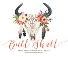 """Check out this @Behance project: """"Watercolor bull skull set""""…"""
