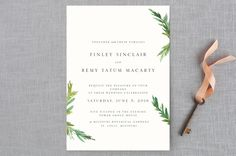 """Simple Pine Branches"" - Rustic, Simple Wedding Invitation Petite Cards in Vanilla by Nikkol Christiansen."