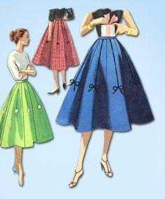 1950s Vintage Misses 8 Gore Skirt 1955 McCall's VTG Sewing Pattern Size 26 Waist #McCallsPattern #SkirtPattern