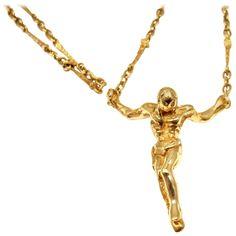 Salvador Dali Christ Saint John On The Cross Gold Bracelet Necklace Set | See more rare vintage Drop Necklaces at http://www.1stdibs.com/jewelry/necklaces/drop-necklaces