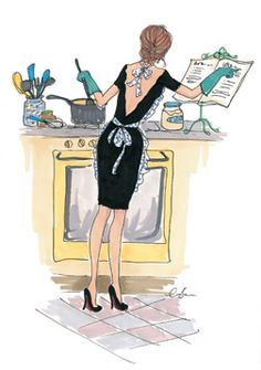 I wish I looked this fab in the kitchen! Illustration by Inslee Haynes Little Paris, Illustration Mode, Watercolor Illustration, Fashion Art, Fashion Design, Fashion Trends, Fashion Sketches, Fashion Illustrations, Belle Photo