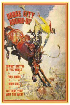 Cowboy Rodeo Poster Dodge City, Kansas 18x24 Vintage Print. zoom